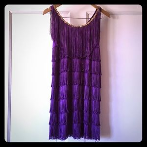 Purple and Gold Sequined Fringe Flapper Dress
